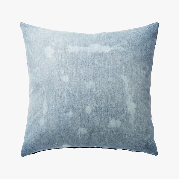 23 Splatter Denim Pillow With Down Alternative Insert Sold Out Cb2 Canada