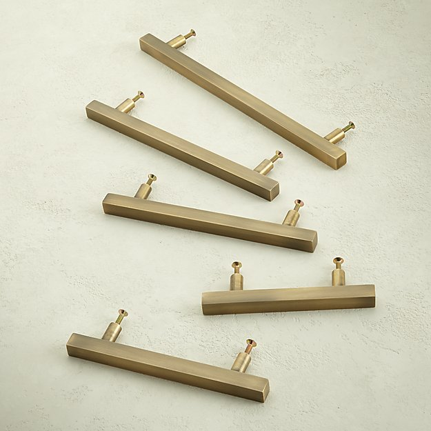 Antique Brass Square Handles - Image 1 of 6
