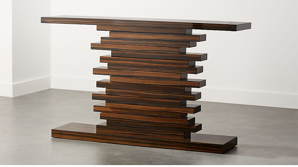 Stack Hi Gloss Wood Console Table Reviews Cb2