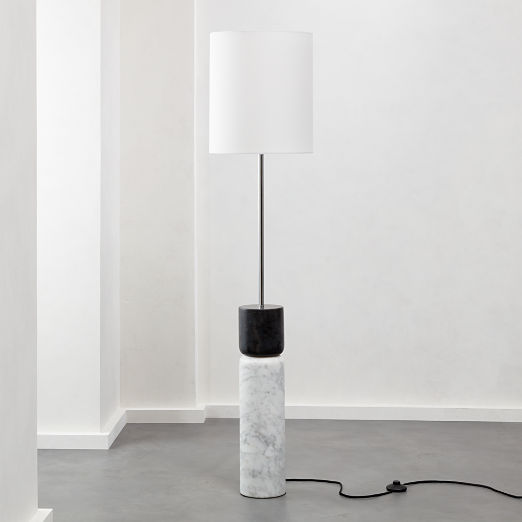 Stacked Grey and White Marble Floor Lamp