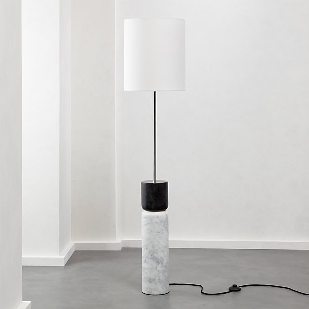 Stacked Grey and White Marble Floor Lamp - Image 1 of 7