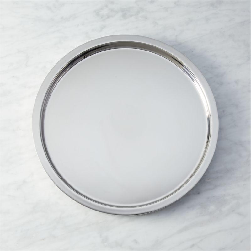 stainless steel shiny bar tray & stainless steel dinnerware | CB2
