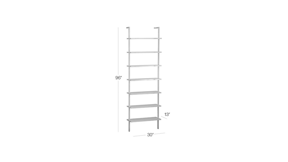 """Image with dimension for stairway white 96"""" wall mounted bookcase"""