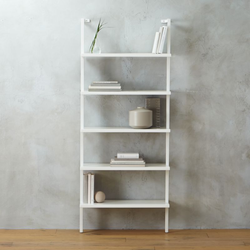Stairway White 72 5 Wall Mounted Bookcase