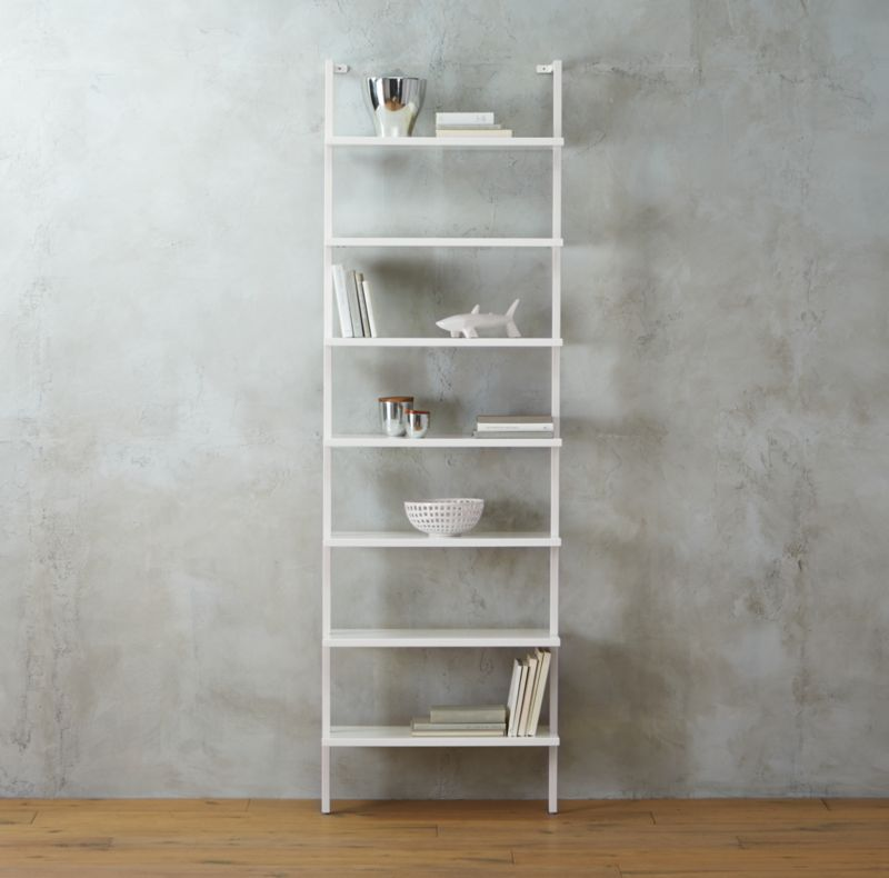 stairway white 96 wall mounted bookcase - Wood Bookshelves
