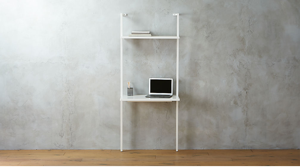 Stairway White Wall Mounted Desk Reviews Cb2