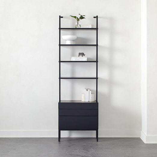 "Stairway 96"" Black Cabinet 3 Drawer"