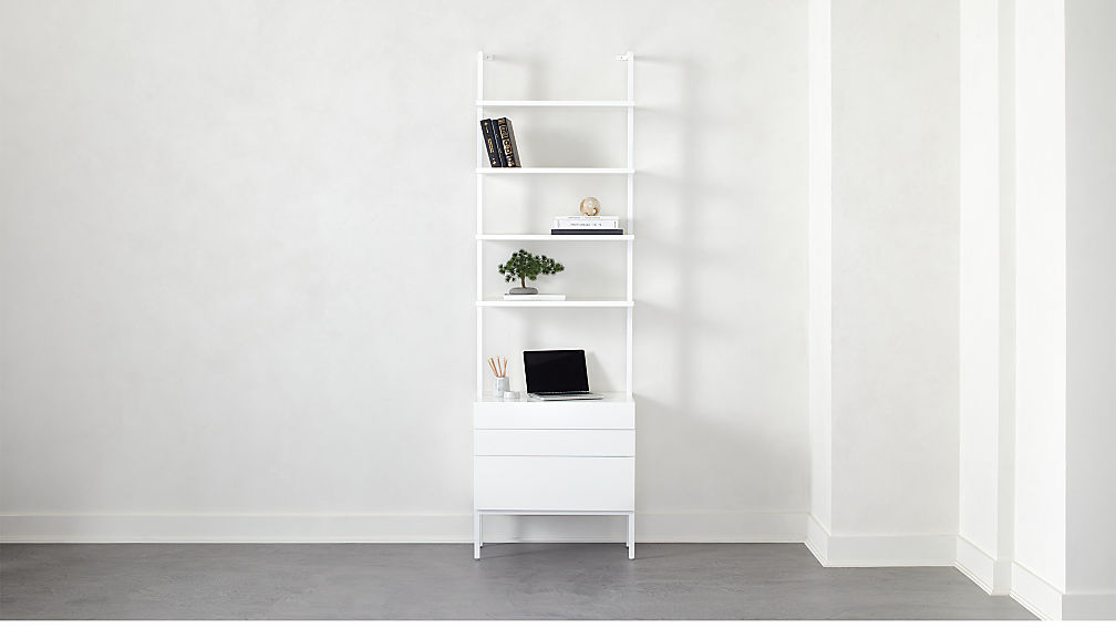 """Stairway 96"""" White Cabinet 3 Drawer - Image 1 of 7"""