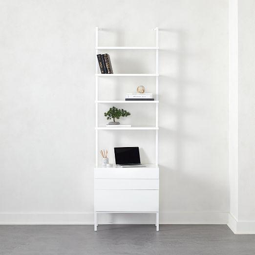 "Stairway 96"" White Cabinet 3 Drawer"