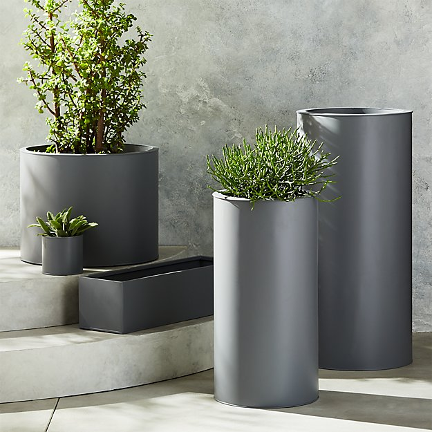 Stax Grey Planters - Image 1 of 11