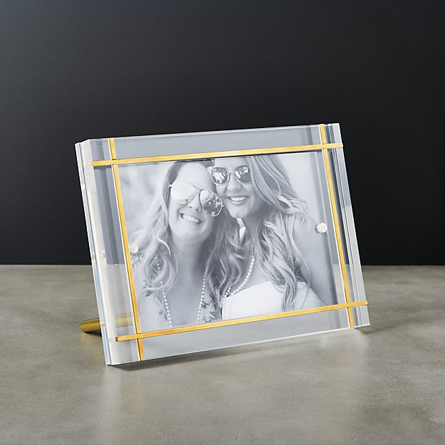 Stella Brass Inlay Acrylic Photo Frame 4x6 Reviews Cb2