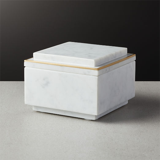 Step Marble and Brass Box with Lid
