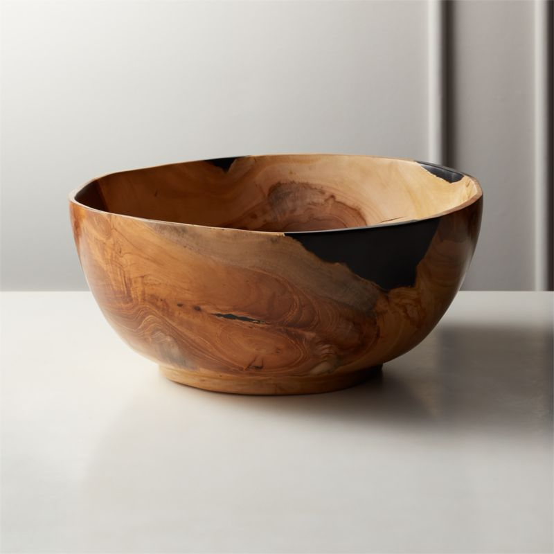 Still Teak Wood And Black Resin Bowl by Crate&Barrel