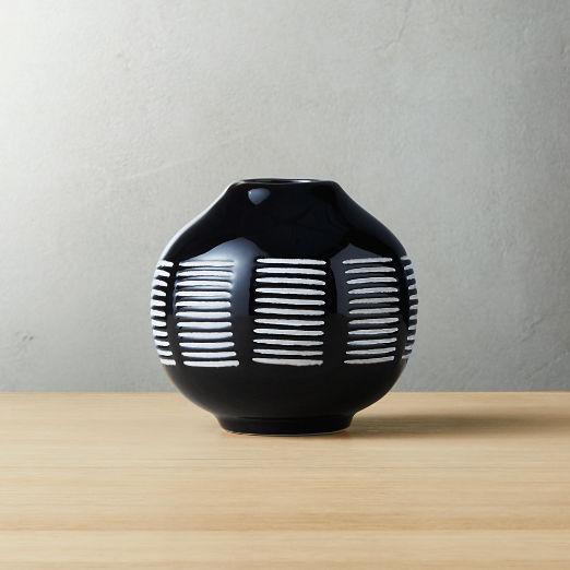 Stitch Black and White Ceramic Vase