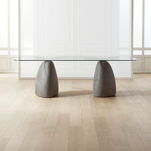 "Stone Grey Rectangular Dining Table 95"""