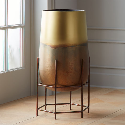 Strata Patinaed Brass Planter On Stand