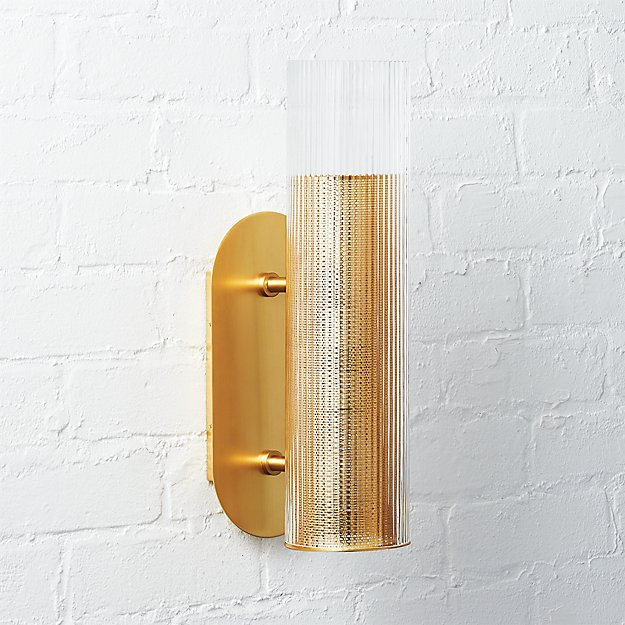 Striae Ribbed Glass Wall Sconce - Image 1 of 12