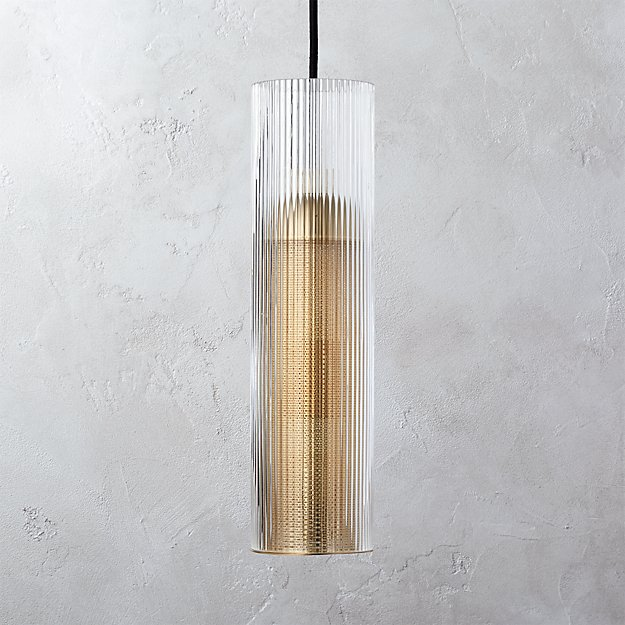 Striae Ribbed Glass Pendant Light - Image 1 of 9