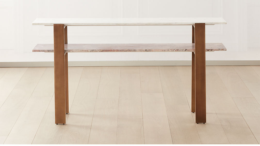 Structure Pink Marble 2-Tier Console Table - Image 1 of 6