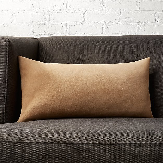 """23""""x11"""" Suede Camel Tan Pillow  with Down-Alternative Insert - Image 1 of 6"""