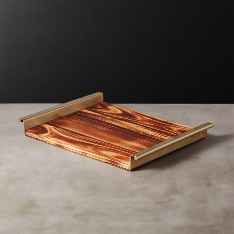 Sugi Pine Wood Bar Tray + Reviews | CB2