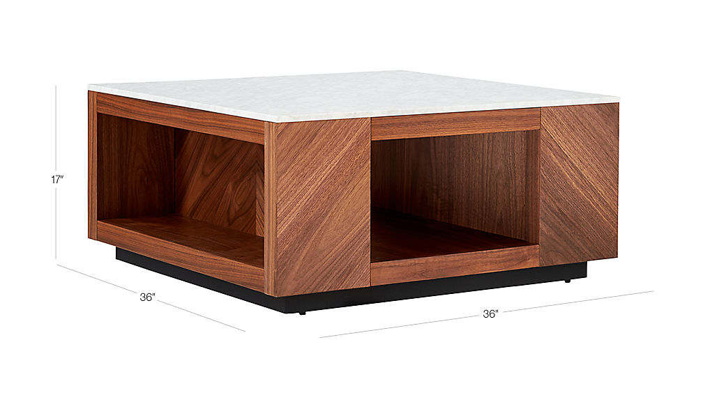 Image with dimension for Suspend II Marble and Wood Coffee Table