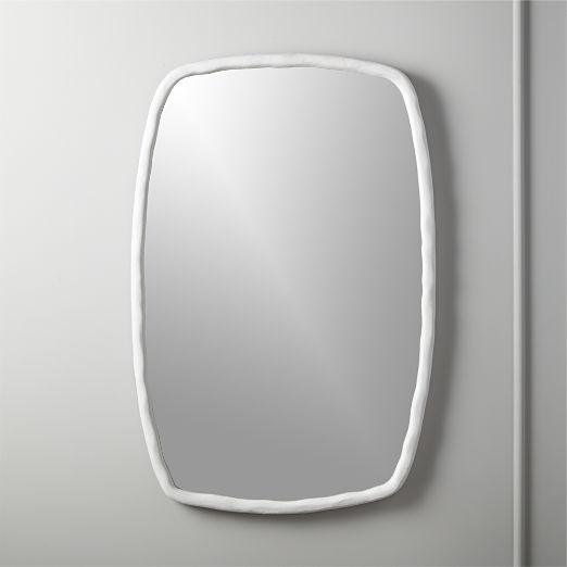 Suva White Rough Cast Mirror
