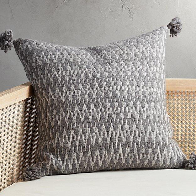 "23"" Sven Grey Tassel Pillow - Image 1 of 4"