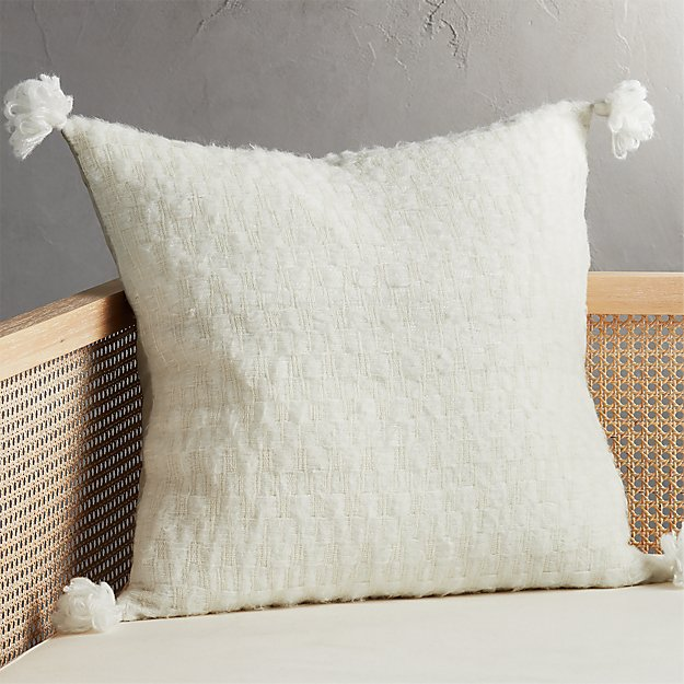 "23"" Sven White Tassel Pillow - Image 1 of 7"