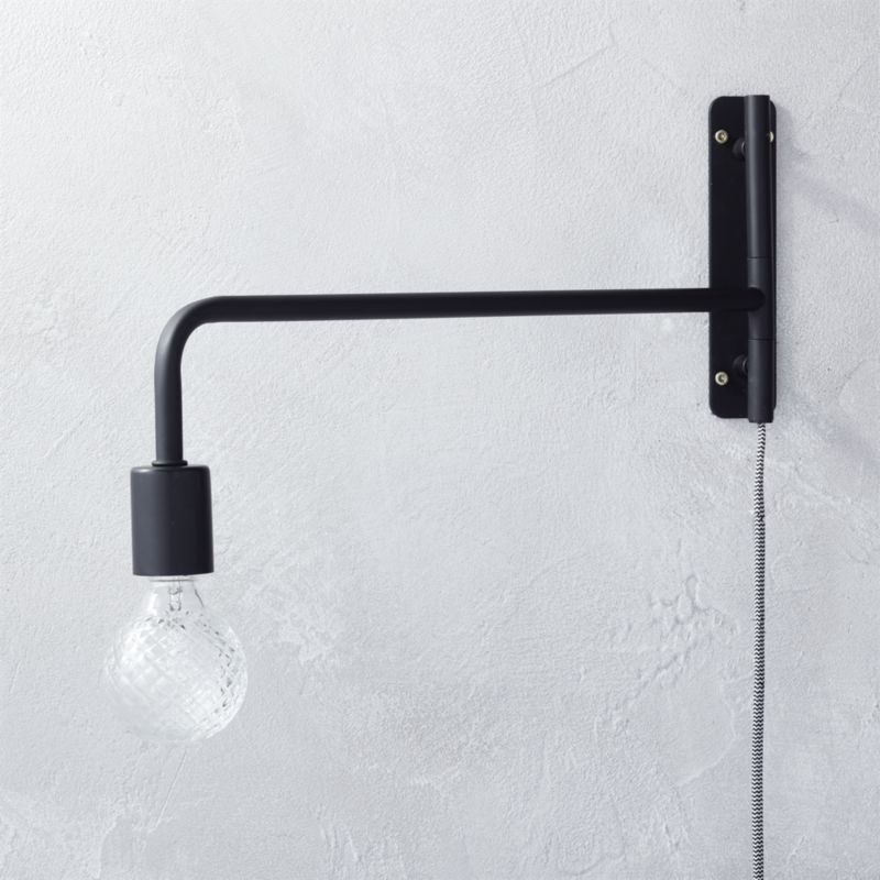 Metal wall sconces cb2 swing arm black wall sconce aloadofball Images