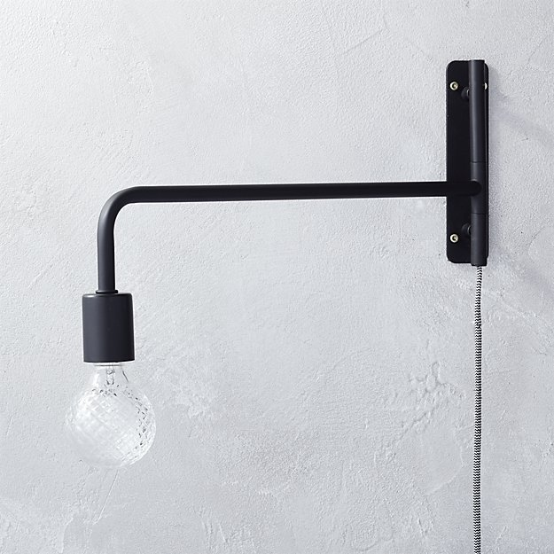 Swing arm black wall sconce reviews cb2 swingarmwallsconceblkshf16 aloadofball Choice Image