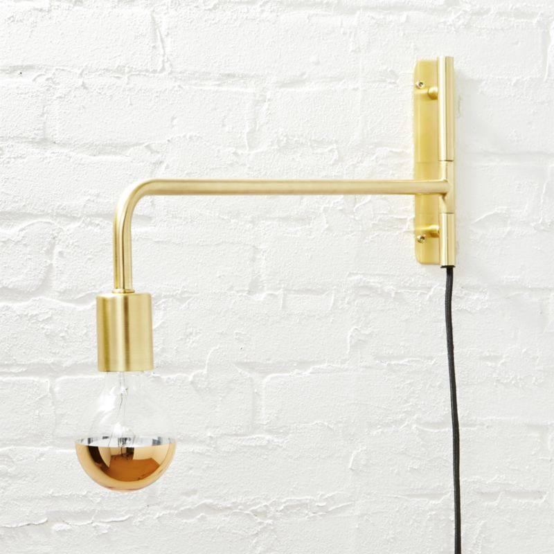 Swing arm black wall sconce reviews cb2 aloadofball Image collections
