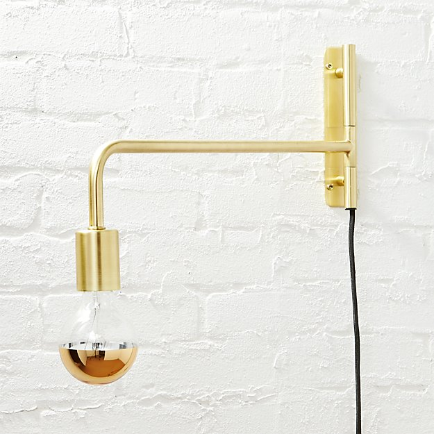 Swing Arm Brass Wall Sconce - Image 1 of 11