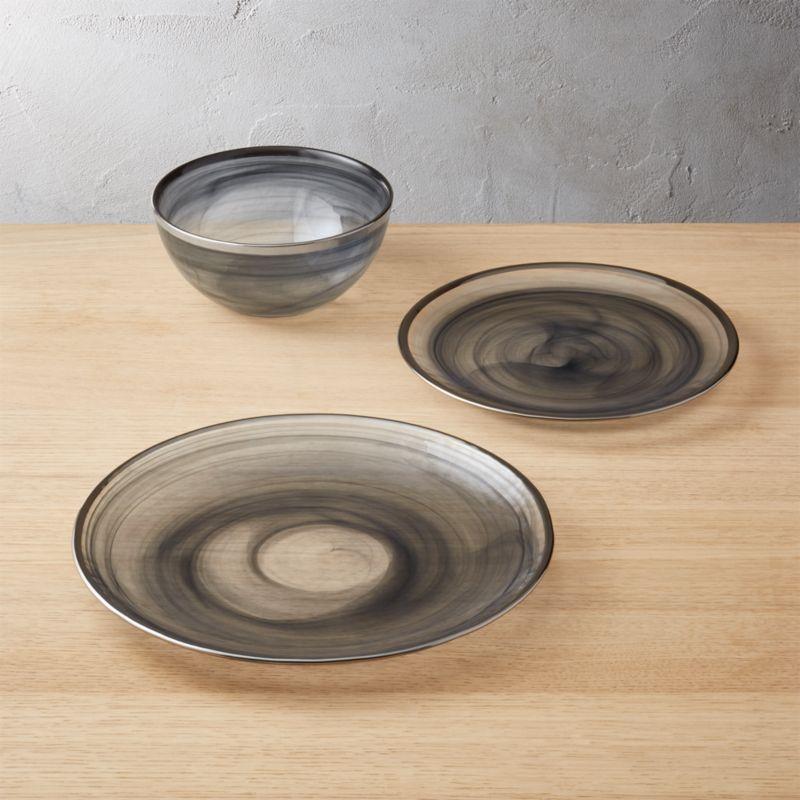 & Swoon Smoke Grey Glass Dinnerware | CB2