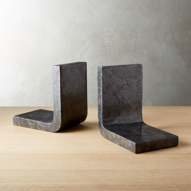 Swoop Black Marble Bookends Set Of 2 Reviews Cb2