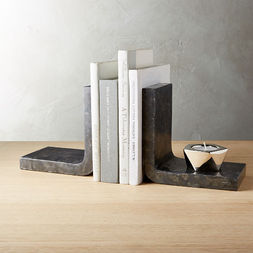 Swoop Black Marble Bookends Set of 2