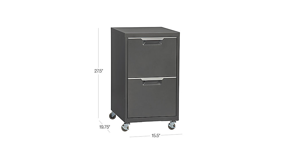 TAP TO ZOOM Image With Dimension For TPS Carbon 2 Drawer Filing Cabinet