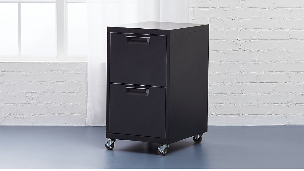 tps black 2-drawer file cabinet + reviews | cb2 2 drawer file cabinet