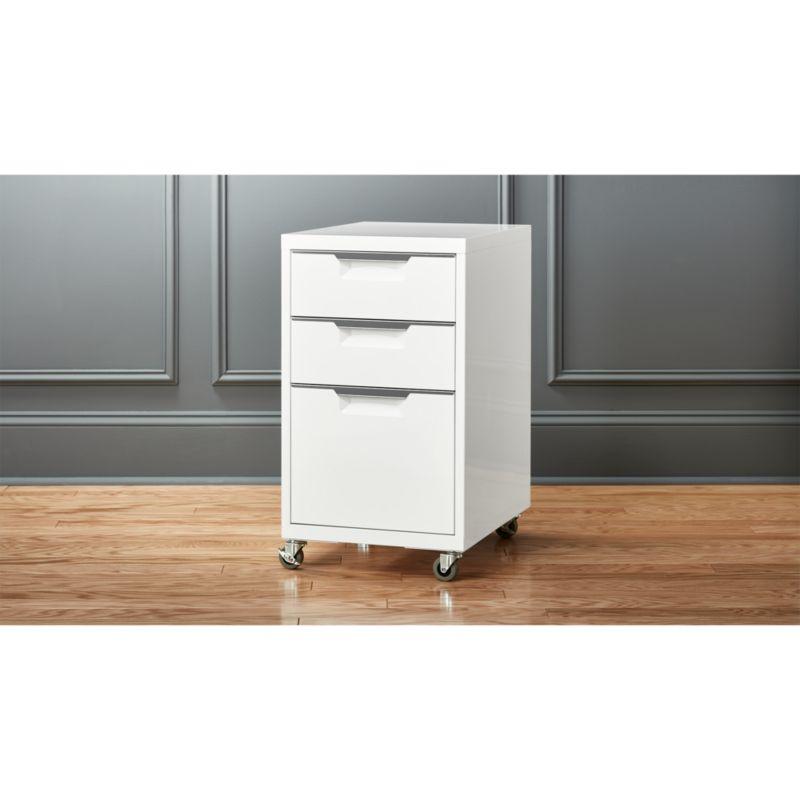 TPS white 3 drawer filing cabinet CB2