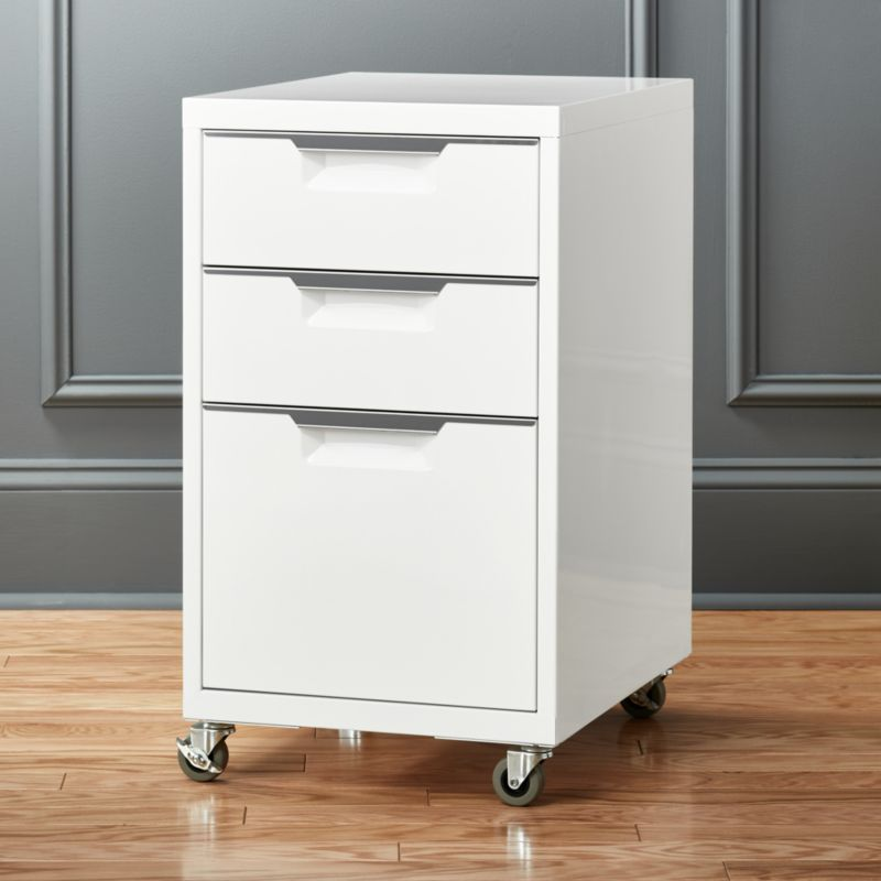 TPS 3 Drawer White File Cabinet + Reviews | CB2