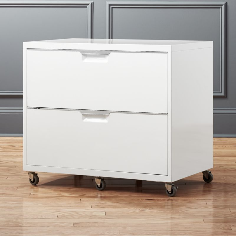 TPS White Wide Filing Cabinet & file cabinets | CB2
