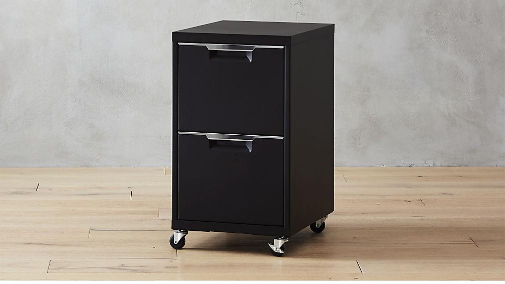 TPS Black 2 Drawer Filing Cabinet + Reviews | CB2