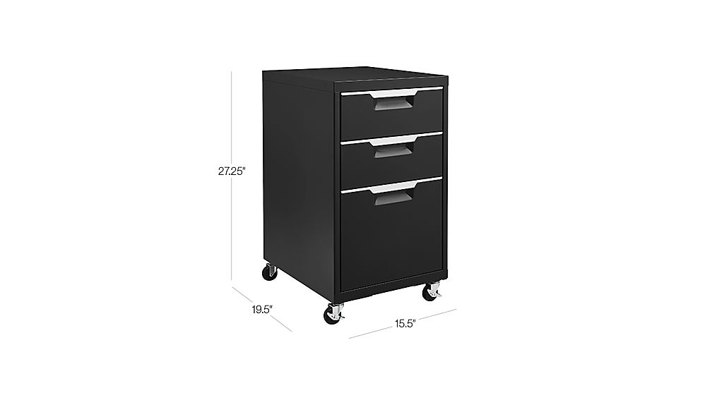 Tap To Zoom Image With Dimension For Tps Black 3 Drawer Filing Cabinet
