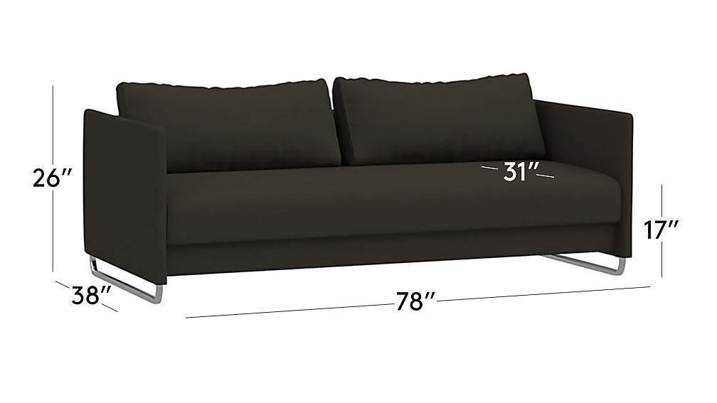 TAP TO ZOOM Image With Dimension For Tandom Dark Grey Sleeper Sofa
