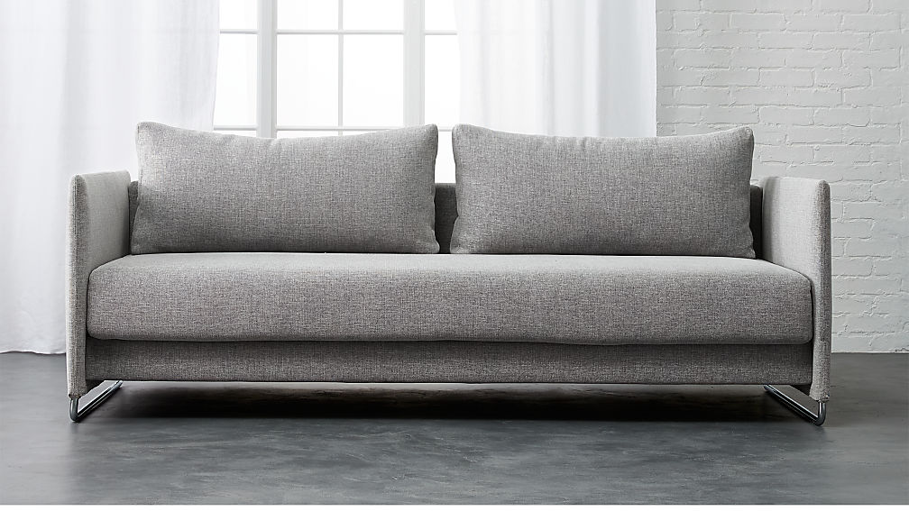 Sleeper Sofa.Tandom Microgrid Grey Sleeper Sofa