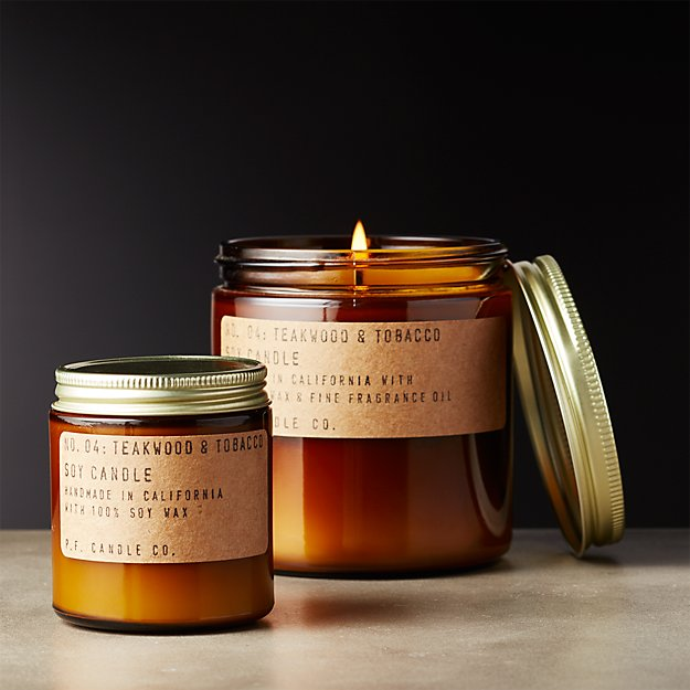 Teakwood and Tobacco Soy Candles | CB2
