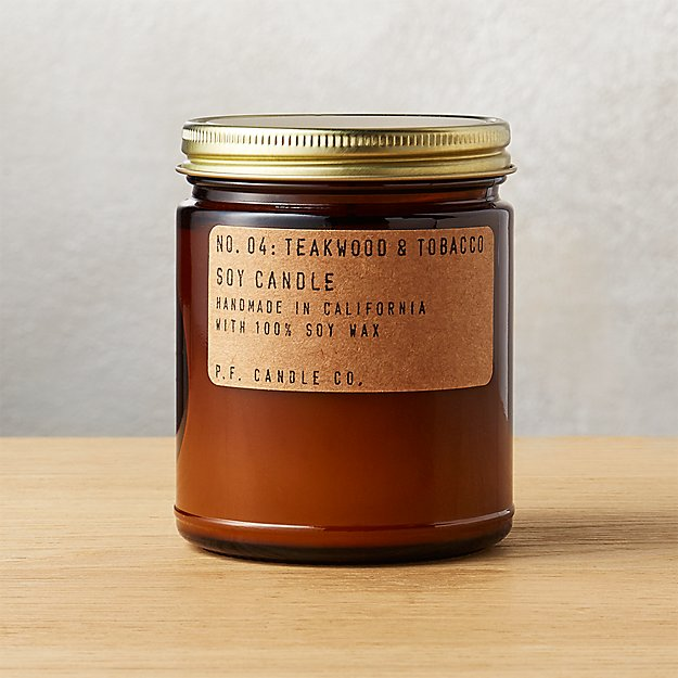 P.F. Candle Co. Teakwood and Tobacco Soy Candle 7.2 oz - Image 1 of 9