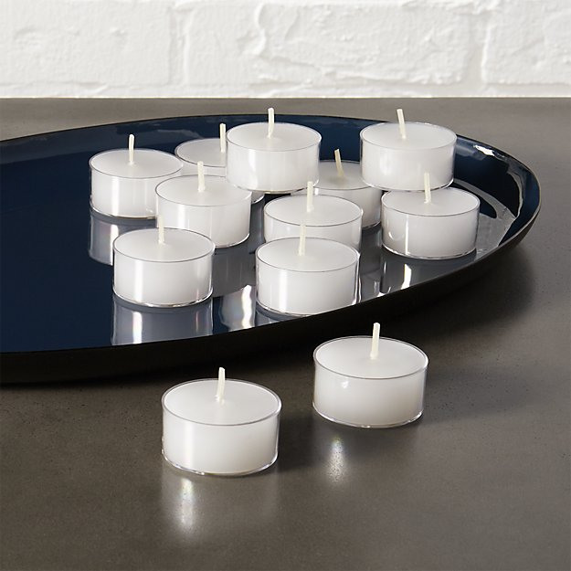Set Of 12 Clear-Cupped Tea Light Candles + Reviews