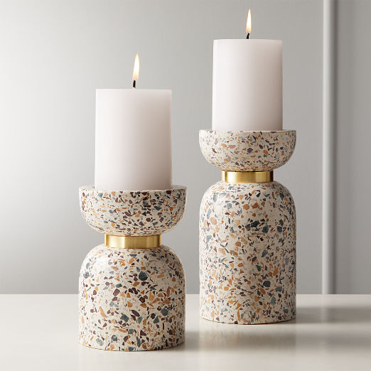 Terrazzo Pillar Candle Holder Small