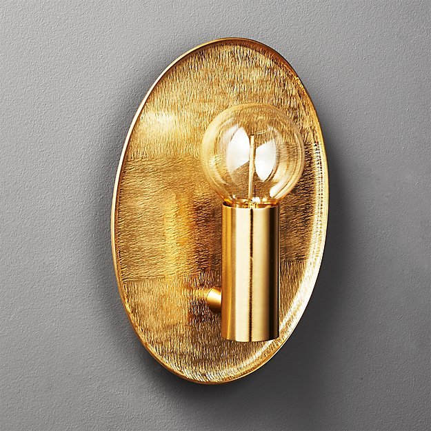 Thatcher Textured Brass Wall Sconce + Reviews | CB2